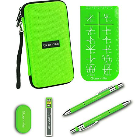 Guerrilla Hard Travel Case for TI-83 Plus, TI-84 Plus, TI-84 Plus Color Edition, TI-89 Titanium, TI-Nspire CX&CX CAS,HP50G Graphing Calculators + Guerrilla's Essential Calculator Accessory Kit, (Calc Ti Nspire Cx Cas & Adaptor)