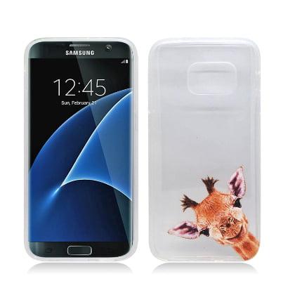 MUNDAZE Giraffe Gel Skin Flexible TPU Case For For Samsung Galaxy S7 Phone (Giraffe Phone Jack)