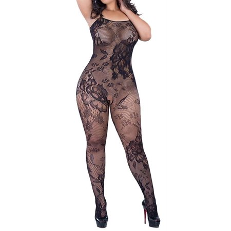 Crotchless Floral Fishnet Bodystocking PLUS - Plus Size Bodystocking