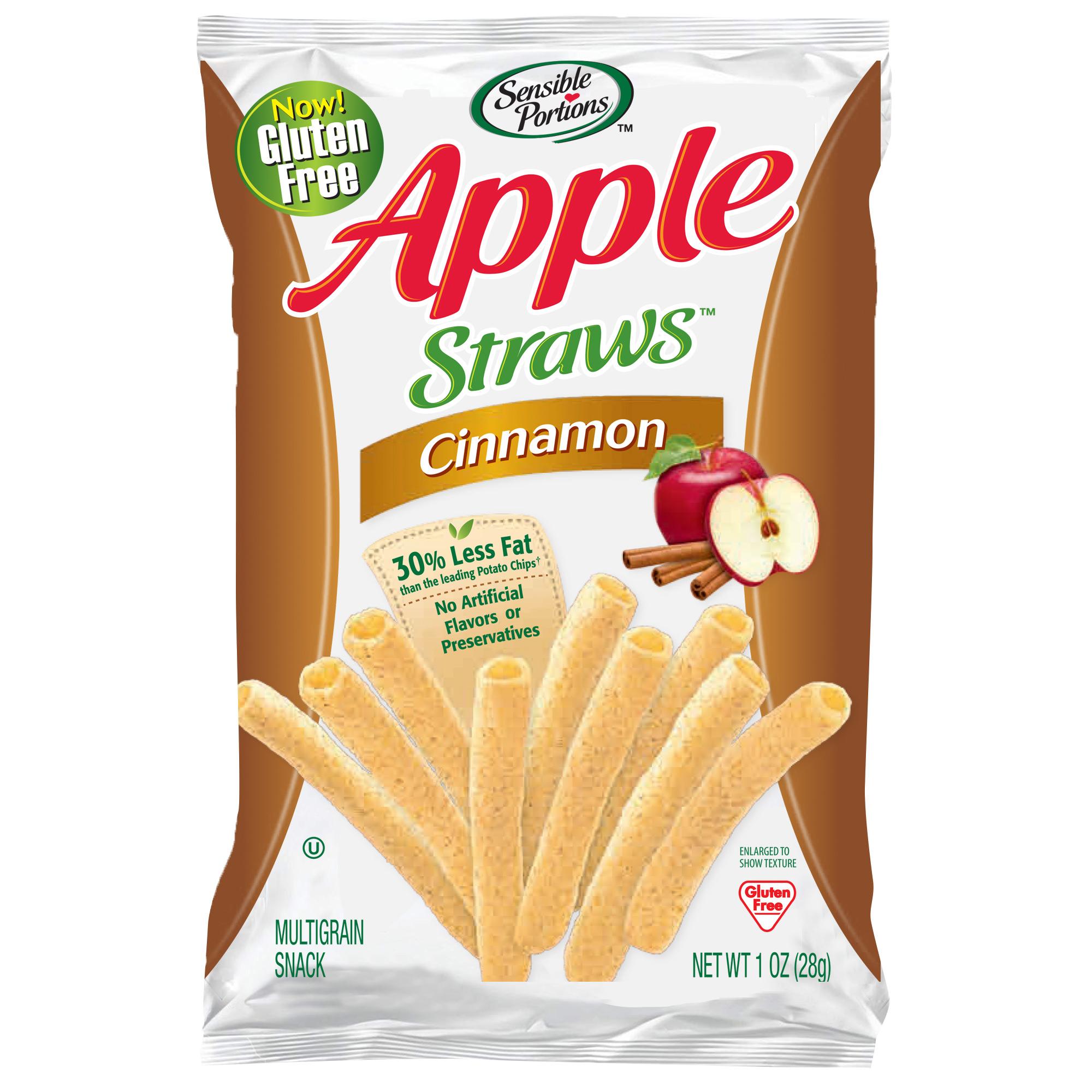 Sensible Portions Apple Straws, Cinnamon, 1 oz. (Pack of 24)