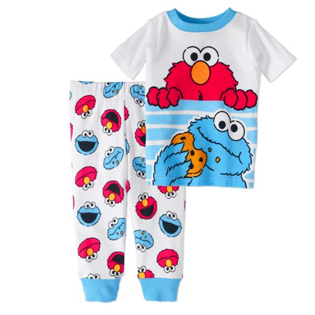 Newborn Baby Boy Cookie Monster & Elmo Cotton Tight Fit Pajamas, 2pc Set (Elmo Suit For Sale)