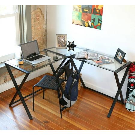 Walker Edison Glass and Metal X-Frame Corner Computer Desk, Clear Glass & Black ()