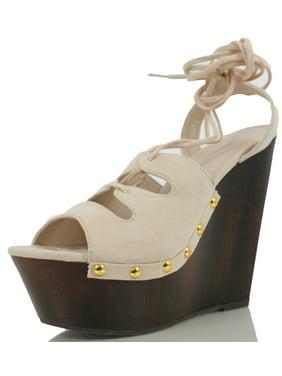 bf25ac671afe Product Image Wild Diva Women s Arina 06 Peep Toe Lace Up Ankle Tie  Slingback Clog Platform Wedge (