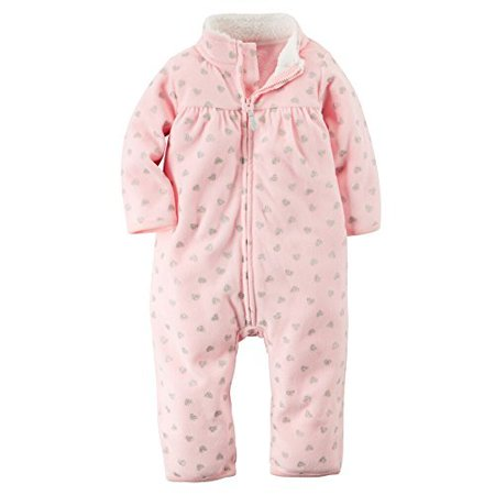 Carters Baby Girls Zip-Up Glitter Print Jumpsuit Pink Hearts 24M