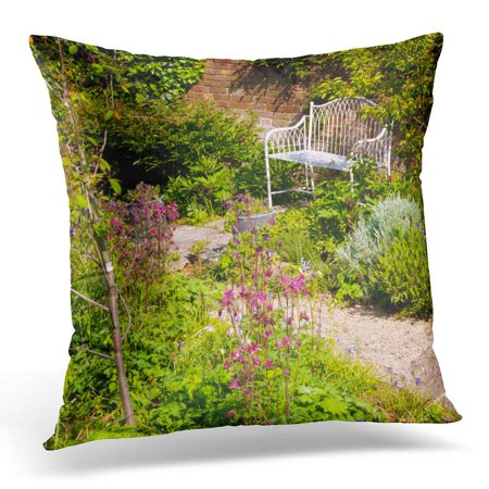 - ARHOME English Secluded Garden Bench by Old Brick Wall in Corner of The Britain Throw Pillow Case Pillow Cover Sofa Home Decor 16x16 Inches