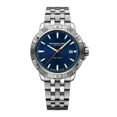 Raymond Weil Men's 41mm Steel Bracelet & Case Quartz Blue Dial Analog Watch 8160-ST2-50001