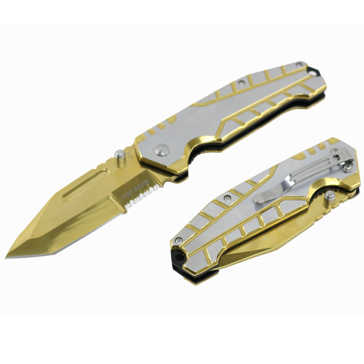 "Hunt-Down 8"" Gold Ball Bearing Folding Knife Tactical Rescue With Belt Clip"