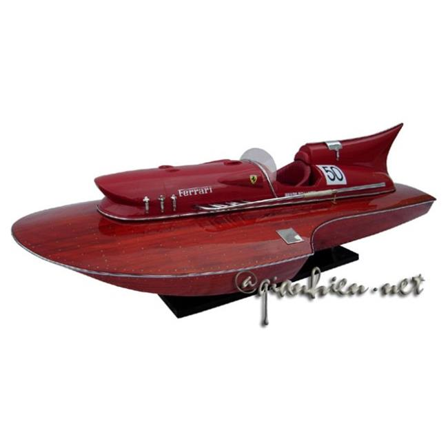 Gia Nhien SB0008P-90 Ferrary Hydroplane Stain Finished 90 Cm. Wooden Model Speed Boat by Gia Nhien