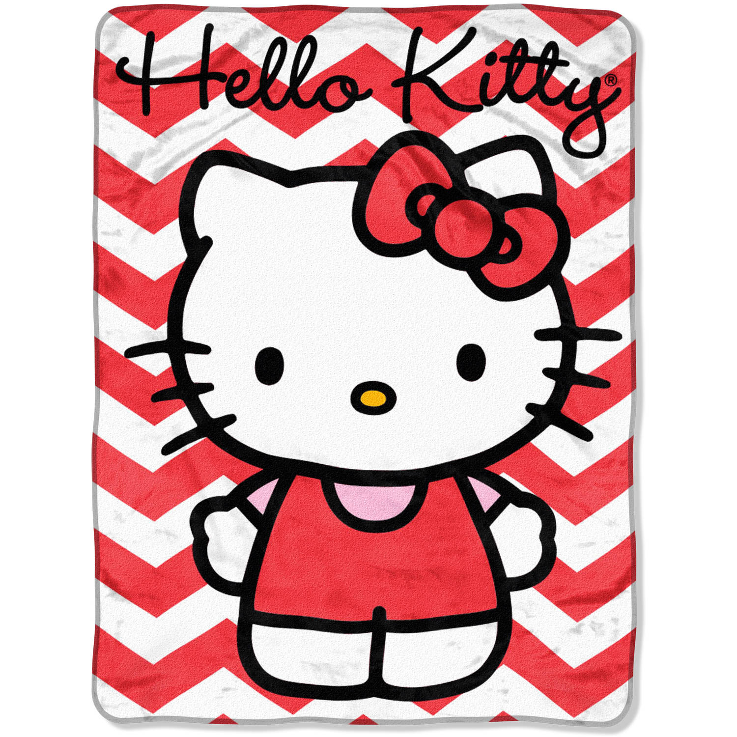 Hello Kitty Chevron Plush Throw