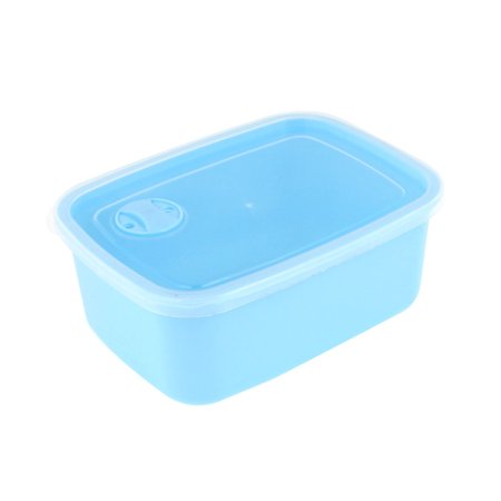 Unique Bargains Single Compartment Blue Clear Food Snack Crisper Case Holder w Spoon