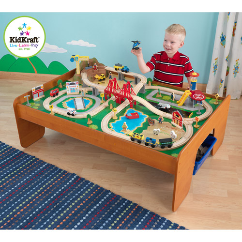 KidKraft Ride Around Town 100-Piece Train Table and Set