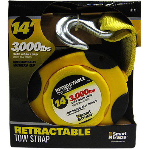 SmartStraps 14' 9000 lbs. Retractable Tow Strap, Yellow 1 Pack