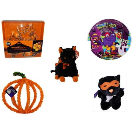 Halloween Fun Gift Bundle [5 Piece] - Wilton Autumn 8-Piece Cookie Cutter Set - McDonald's Haunted House, RIP, Boo  Plate - Ty Beanie Baby