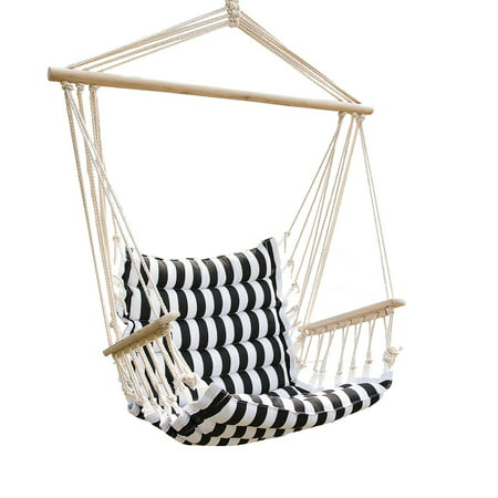 Patio Padded Hammock Cotton Hanging Rope Chair Indoor Outdoor Swing Chair White and Black Stripe