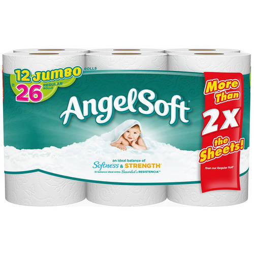 Angel Soft Toilet Paper, 12 Jumbo Rolls, Bath Tissue