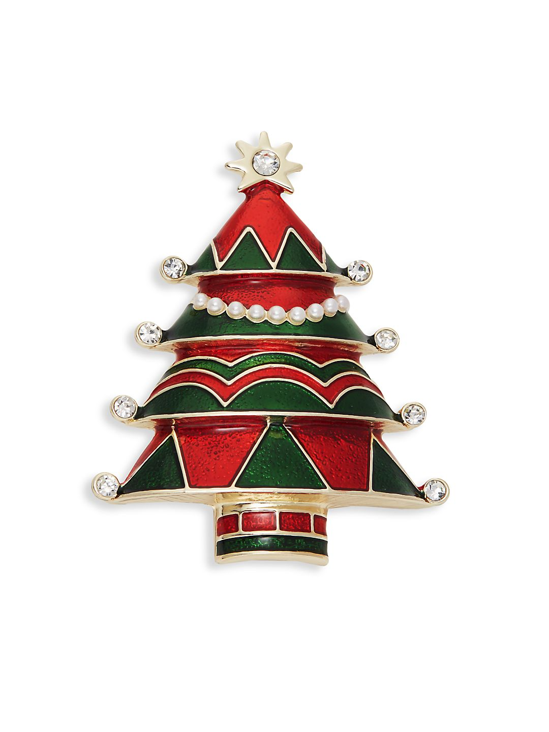 Crystal and Faux-Pearl Enameled Tree Pin