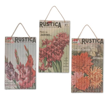 Set Of 3 Orange And Green Decorative Seed Packet Wall Art With Hanger 32 13