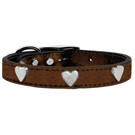 Silver Heart Widget Genuine Metallic Leather Dog Collar Bronze - Silver Dog