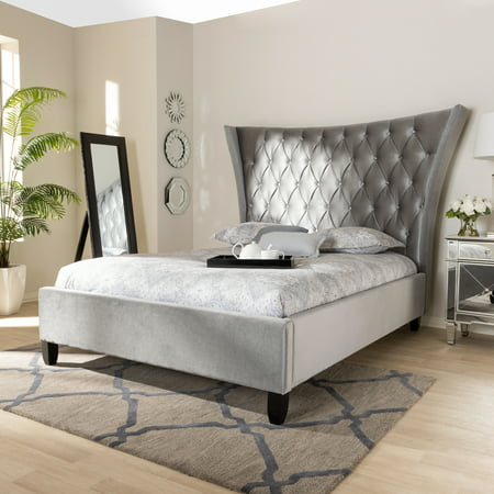 Baxton Studio Viola Glam and Luxe Grey Velvet Fabric Upholstered and Button Tufted King Size Platform Bed with Tall Wingback