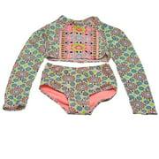 Girls Multi Color Star Cross Two Piece Rashguard Swimsuit 7