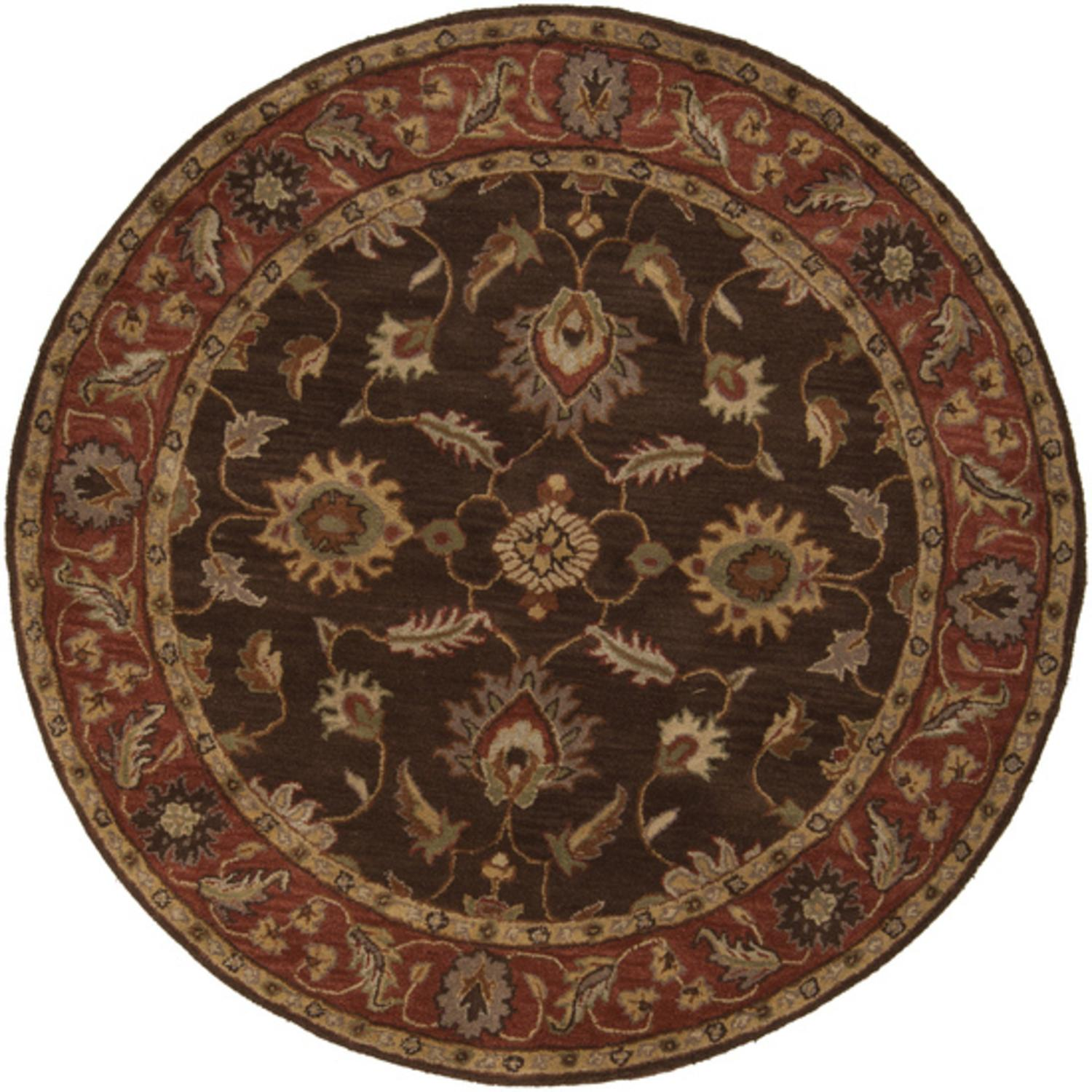 4'  Anethancian Driftwood Brown and Red Clay Round Wool Area Throw Rug