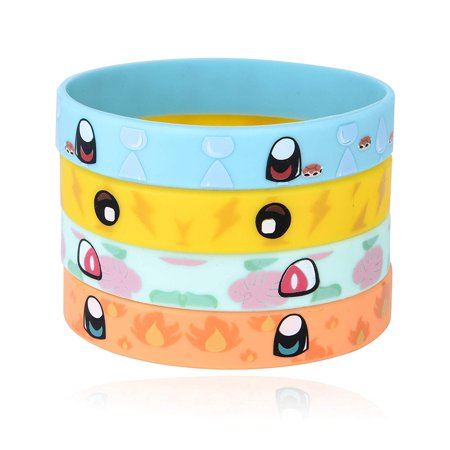 24 Rubber Bracelets for Kids Pokemon Theme Birthday Party Favors - Durable Silicone Bracelets Provide Hours of Fun - Assorted Inspired Pikachu, Charmander, Squirtle, and Bulbasaur Design - Theme For Birthday Party