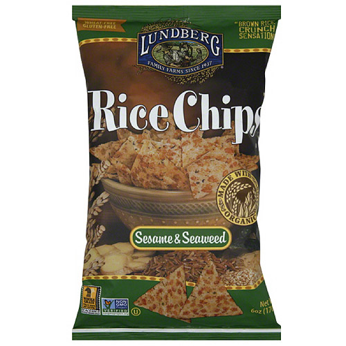 Lundberg Family Farms Sesame & Seaweed Rice Chips, 6 oz, (Pack of 12)