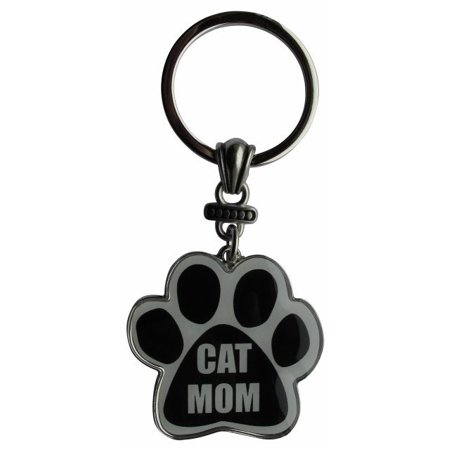 Cat Mom Paw Print Keychain