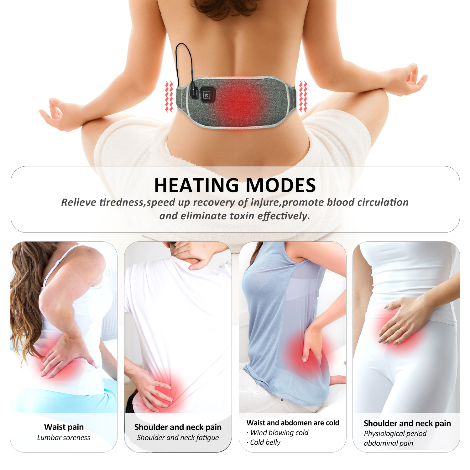 Liiva Fast Heating Waist Belt Wrap / Back Pain Relief Heat Therapy Pad / Portable 5V USB Powered Heating Pad for Head, Neck, Shoulders, Belly, Knees Pain Relief - Suitable for Men and Women
