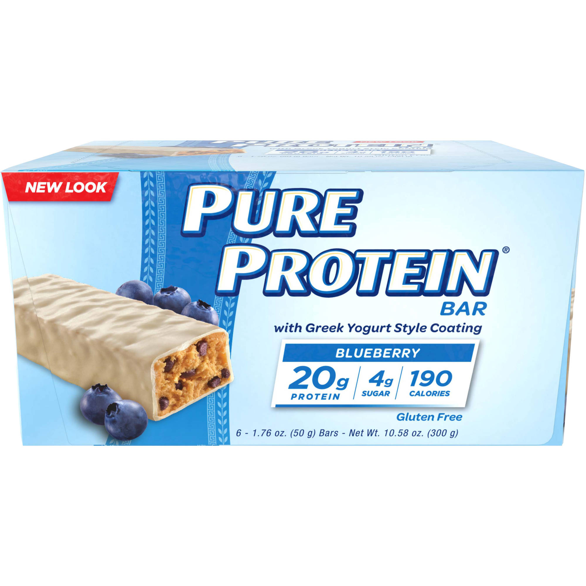 Pure Protein Blueberry Protein Bars with Greek Yogurt Style Coating, 1.76 oz, 6 count