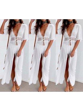 Fashion Women Maxi Dress Beach Bikini Cover up Long dress Summer Swimwear Size S
