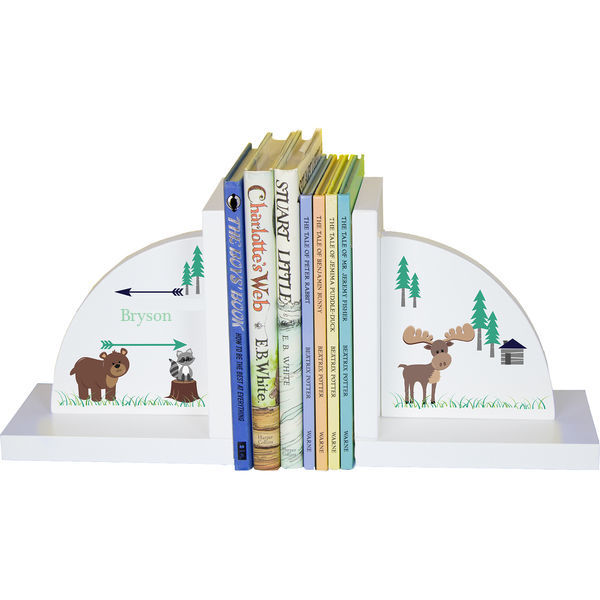 Personalized North Woodland Critters Childrens Bookends