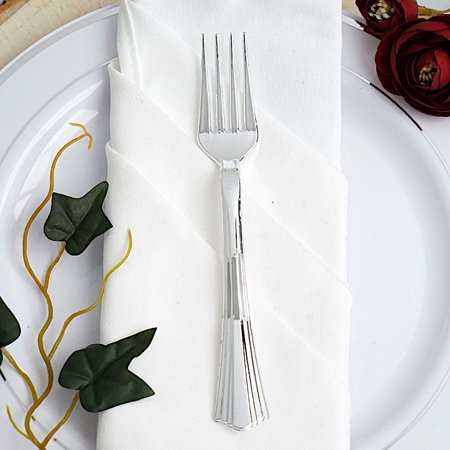 BalsaCircle 25 pcs 7-Inch Silver Disposable Plastic Party Forks Wedding Home Event Reception Catering Silverware Discounted Supplies