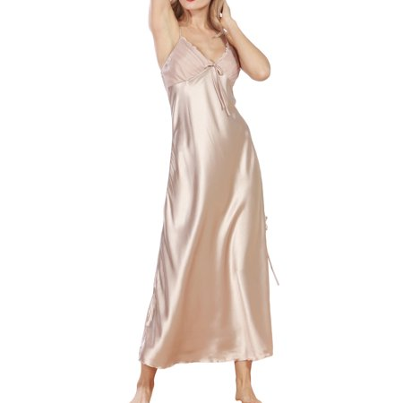 Women Summer Sexy Satin Lace Long Nightgown Slip Lingerie Chemise Robe Color Champagne Size XXL