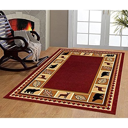 Wildlife Bear Moose Rustic Lodge Cabin Carpet Area Rug, Burgundy, 3'6