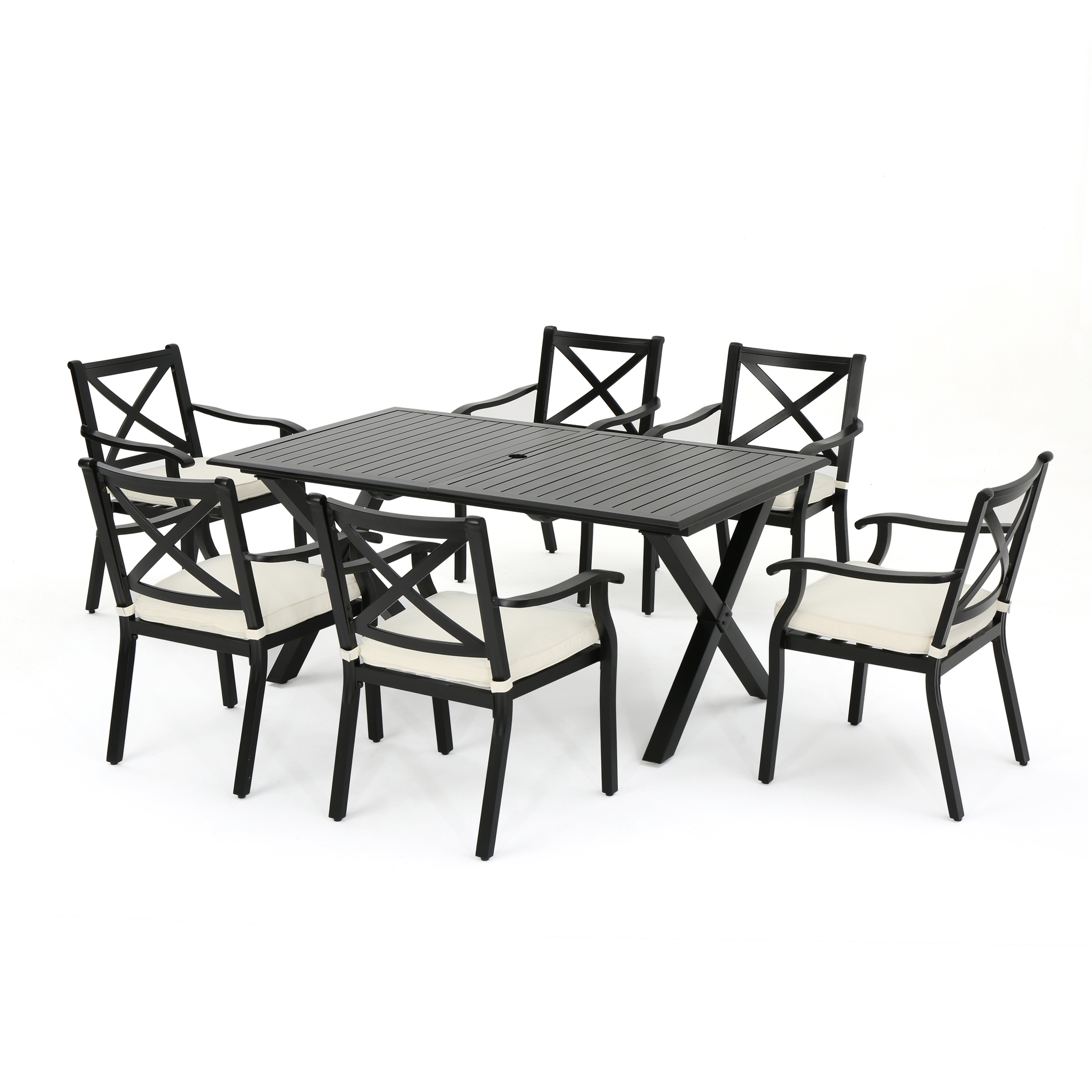Eowyn Outdoor 7 Piece Cast Aluminum Dining Set with Ivory Water Resistant Cushions, Black