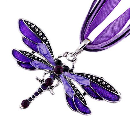KABOER Retro Necklace Crystal Dragonfly Pendant Chain Ribbon Casual Necklace Women Stripe Ribbon Necklace
