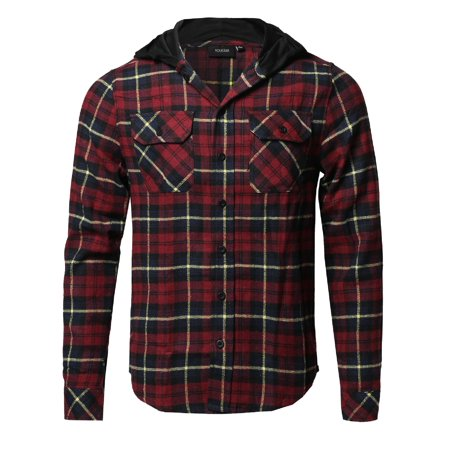 FashionOutfit Men's Plaid Flannel Long Sleeves Button Closure Detachable Hoodie Shirt