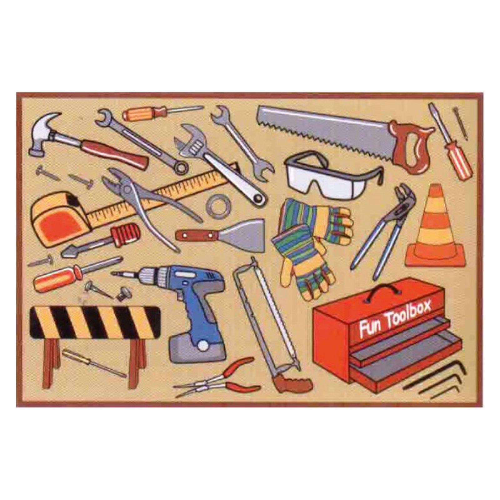Fun Rugs Fun Toolbox Kids' Rug, Light Brown