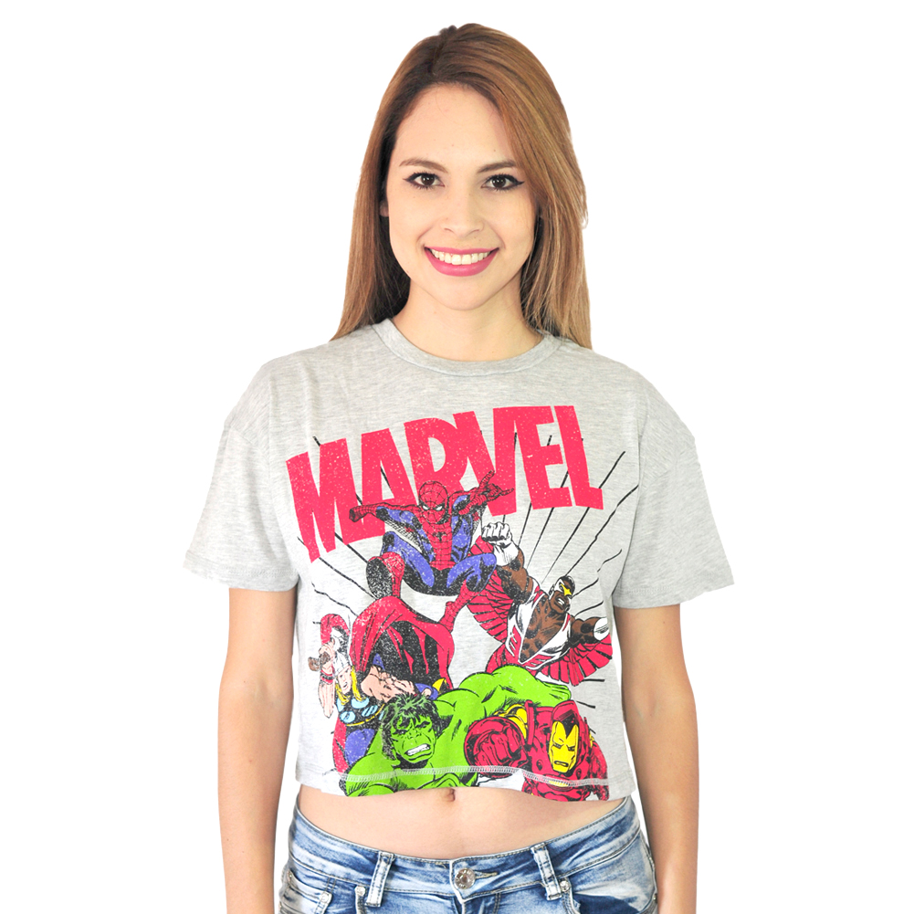 Marvel The Avengers  Grey Licensed Crop Top New Sizes S-XL