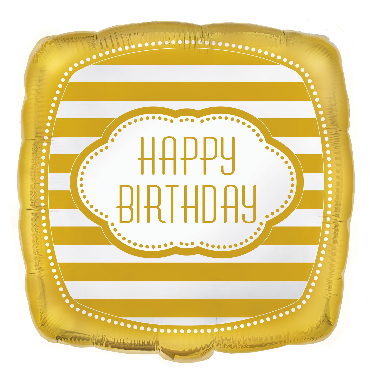"18"" Square Foil Golden Birthday Balloon"