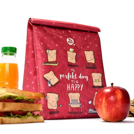 Thermal Lunch Bag By Yume   Large Insulated Paper Lunch Sack Box Life Slice     Foldable   Reusable Bags With Designer Prints   Magnetic Handle For Adults   Children Who Like Healthy Packed Lunches