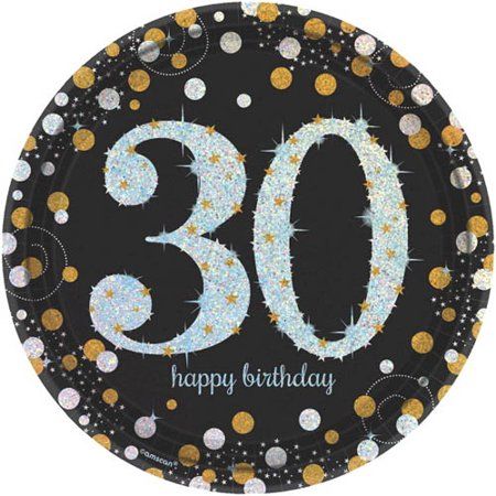 Over the Hill 'Sparkling Celebration' 30th Birthday Large Paper Plates (8ct) - 30th Birthday Celebration Ideas For Her