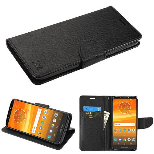 online store 8a3c3 68285 Motorola Moto E5 Plus, E5 Suprae - Leather Flip Wallet Case Cover Stand  Pouch Credit Card Slots BLACK