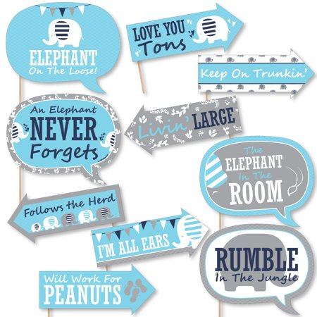 Funny Blue Elephant Boy Baby Shower Or Birthday Party Photo Booth
