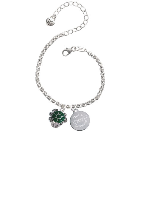 Silvertone Green Enamel 2-D Turtle Spinner Class Of 2017 Congrats Engraved Bracelet by Delight and Co.