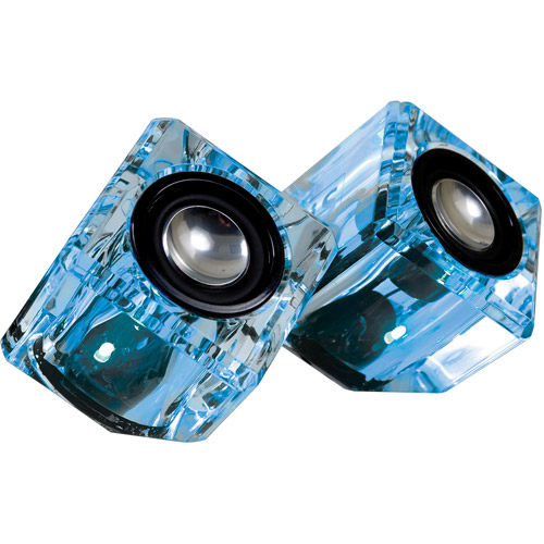 ISOUND DGUN-2526 Ice Crystal Clear Compact Speakers (Blue)