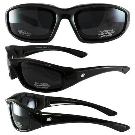 - Birdz Eyewear Oriole Padded Motorcycle Glasses (Black Frame/Dark Smoke Lens)