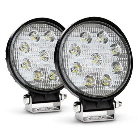 Nilight 2PCS 27W Round Spot LED Light Bar Driving Lamp Waterproof Jeep Off Road Fog Lights for Truck Car ATV SUV Jeep Boat 4WD ATV, 2 Years