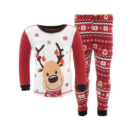 Komar Kids Boys Christmas Reindeer Cotton Pajamas